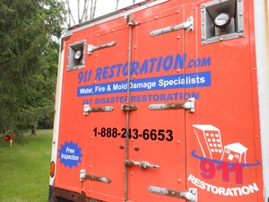 Water Damage Wolcott Fully Equipped Box Truck At Residential Job Location