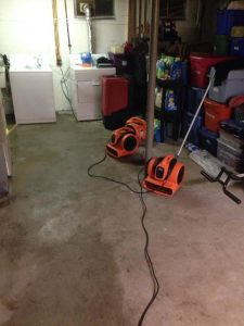 Water Damage Restoration in a Flooded Basement